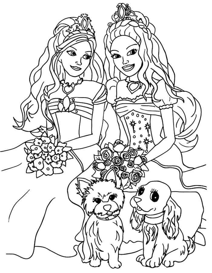 Раскраски для девочек принцессы барби