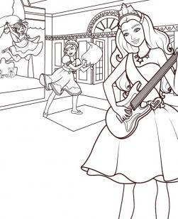 Барби принцесса и поп-звезда Раскраски для девочек скачать