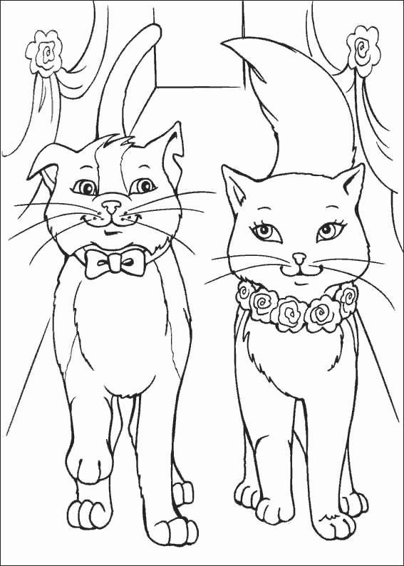 Раскраска кошки принцессы