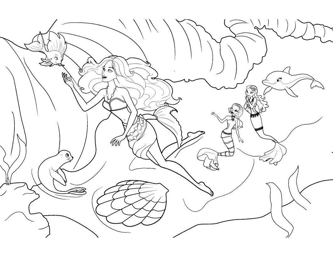 Барби приключения русалочки Раскраски для девочек скачать