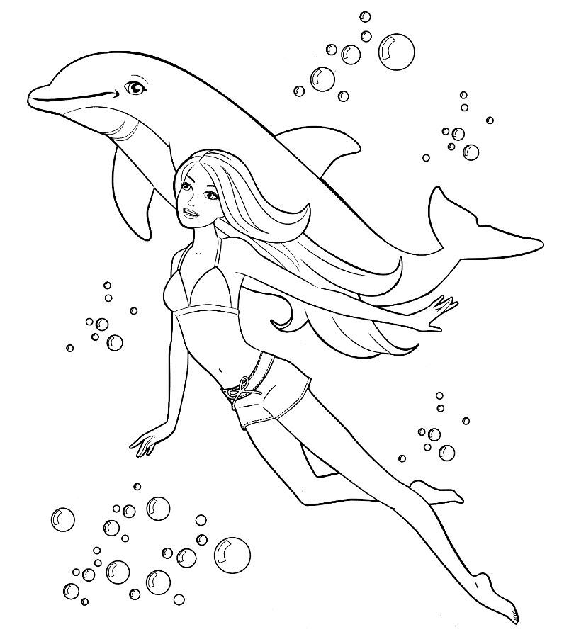 Распечатать раскраску дельфины