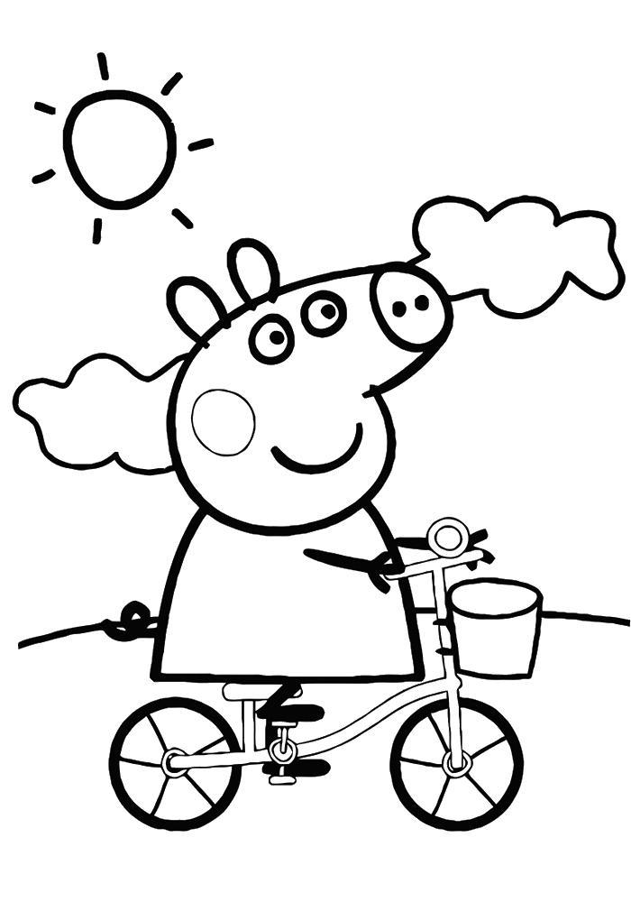 Свинка пепа гуляет Раскраски с цветами распечатать бесплатно
