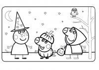 Свинка пепа хеллоуин Раскраски с цветами распечатать бесплатно