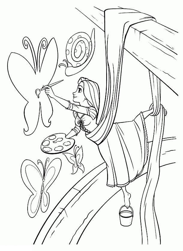 Рапунцель запутанная история Раскраски с цветами распечатать бесплатно