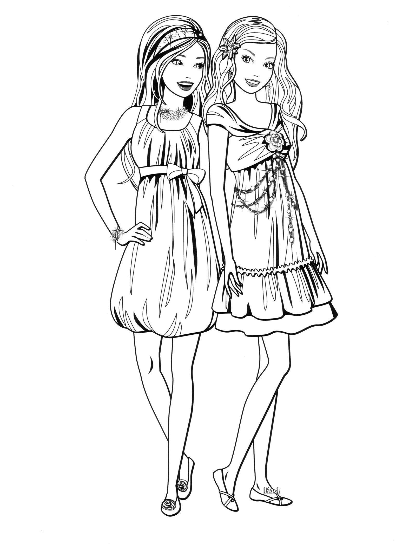Девочки в любимых платьях Раскраски для девочек скачать