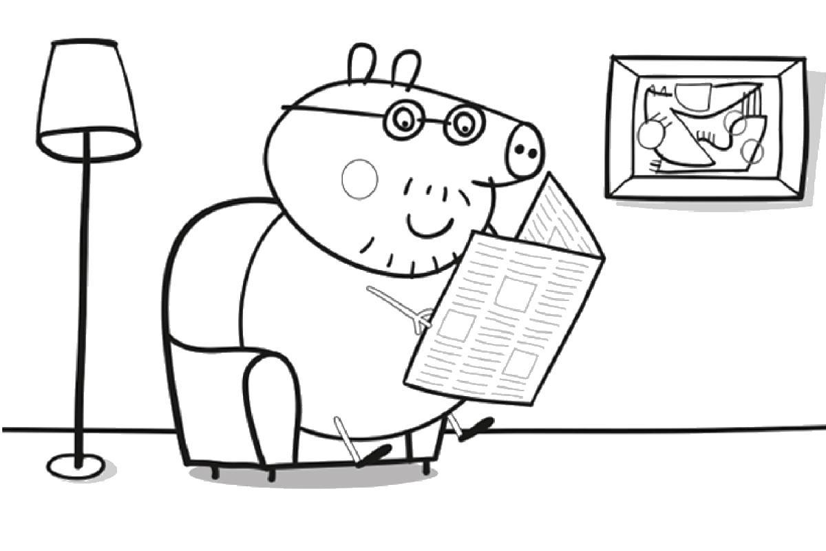 Свинка читает газету по будням Скачать новые раскраски цветы