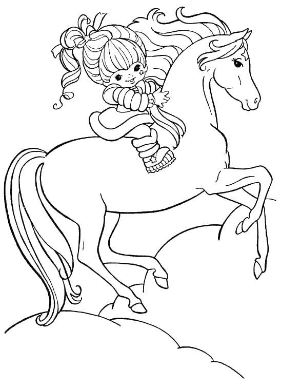 Лошадь с девочкой Раскраски для девочек бесплатно