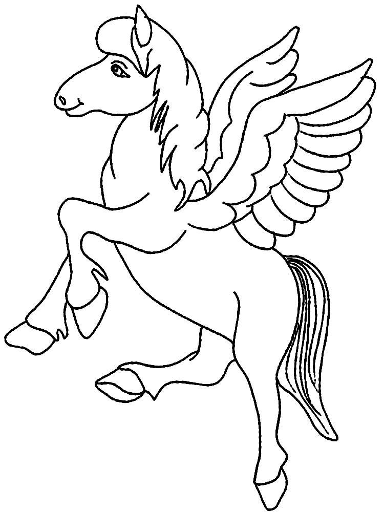 Лошадь с крыльями Распечатываем раскраски цветы бесплатно