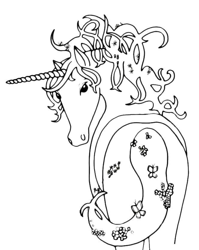 Лошадка с бабочками Раскраски для девочек бесплатно