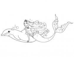 Барби приключения русалочки Черно белые раскраски цветов
