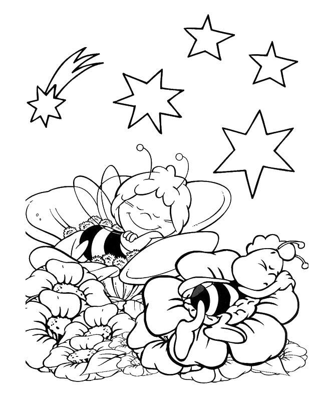 Пчелки спят Раскраски для девочек скачать