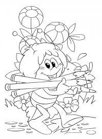 Пчелка собирает карандаши Раскраски для девочек скачать