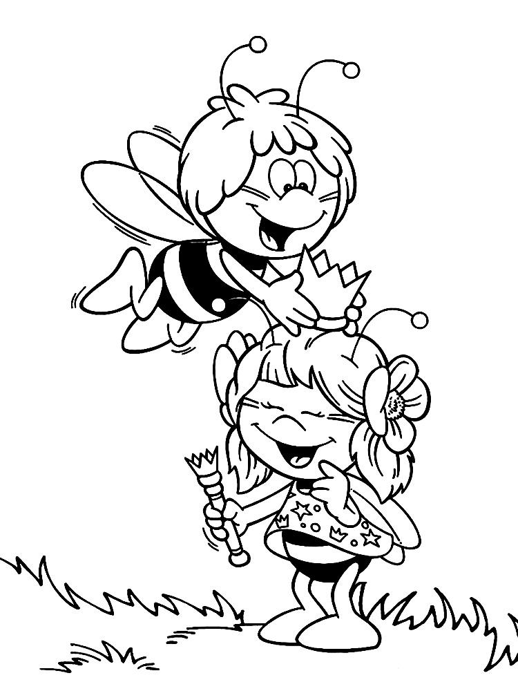 Пчелка майя и пчелка принцесса Раскраски для девочек онлайн