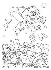 Пчелка майя с буквами и цифрами Раскраски для девочек онлайн