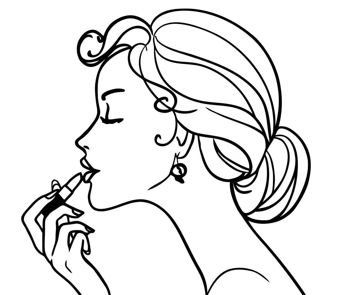 Макияж, девушка красит губы Раскраски для девочек онлайн
