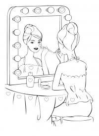 Актриса делает макияж Раскраски для девочек онлайн