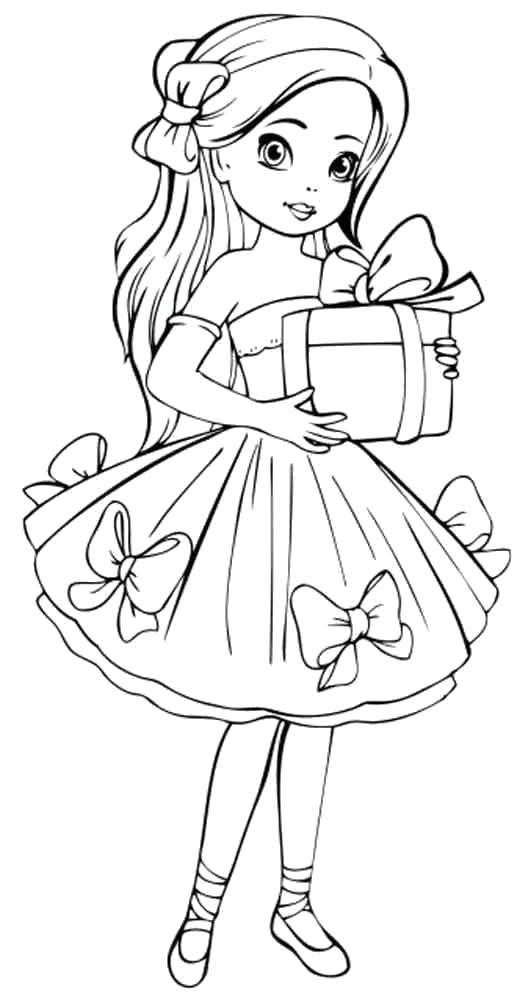 Раскраски куклы в платьях распечатать