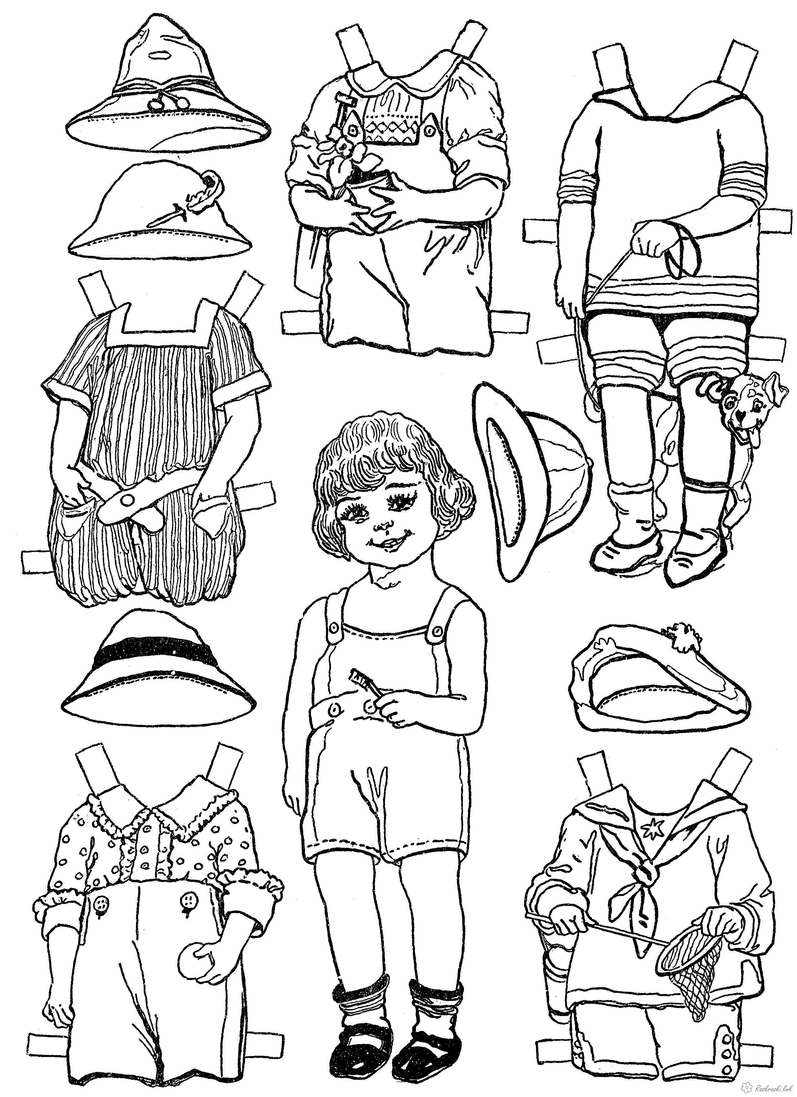 Раскраска оденем куклу