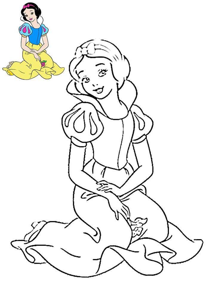 Белоснежка с цветочком Раскраски для девочек бесплатно