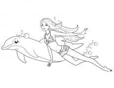 Девочка в купальнике плавает с дельфином Раскраски для девочек онлайн
