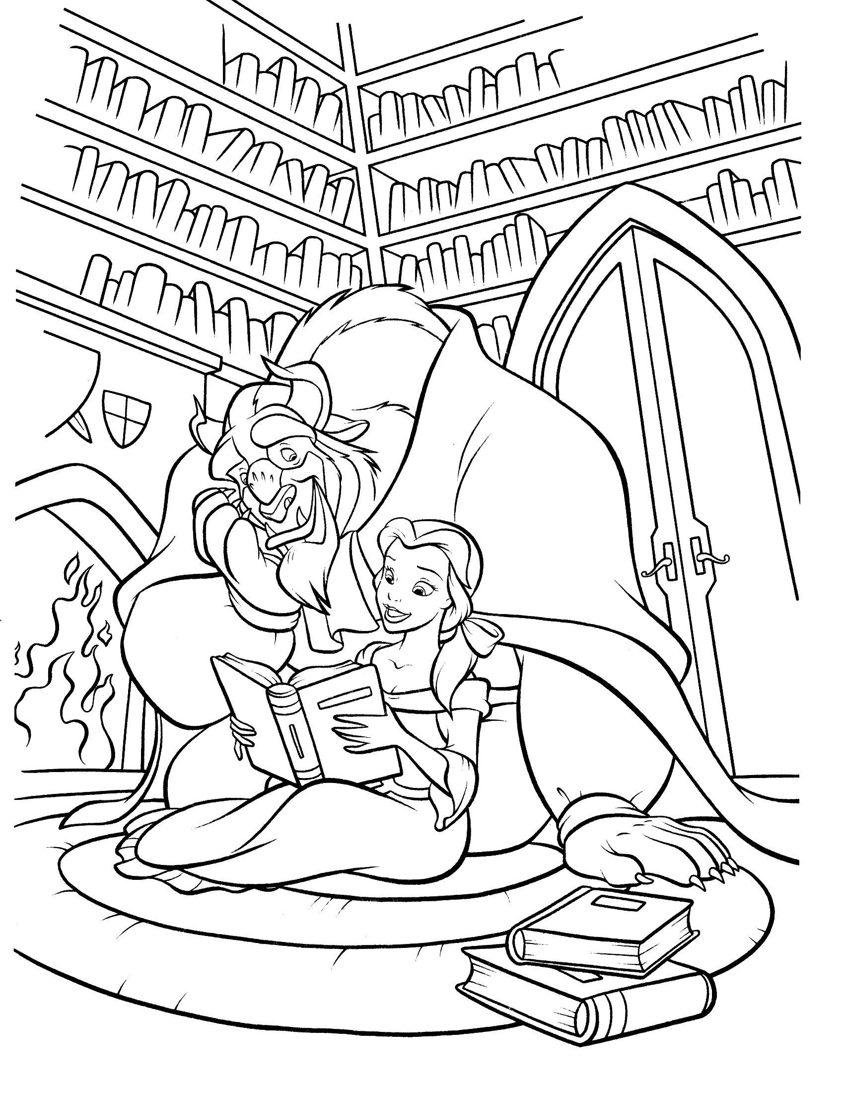 Красавица и чудовище читают книги Раскраски для девочек онлайн