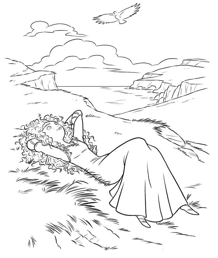 Мерида смотрит на небеса Раскраски для девочек скачать