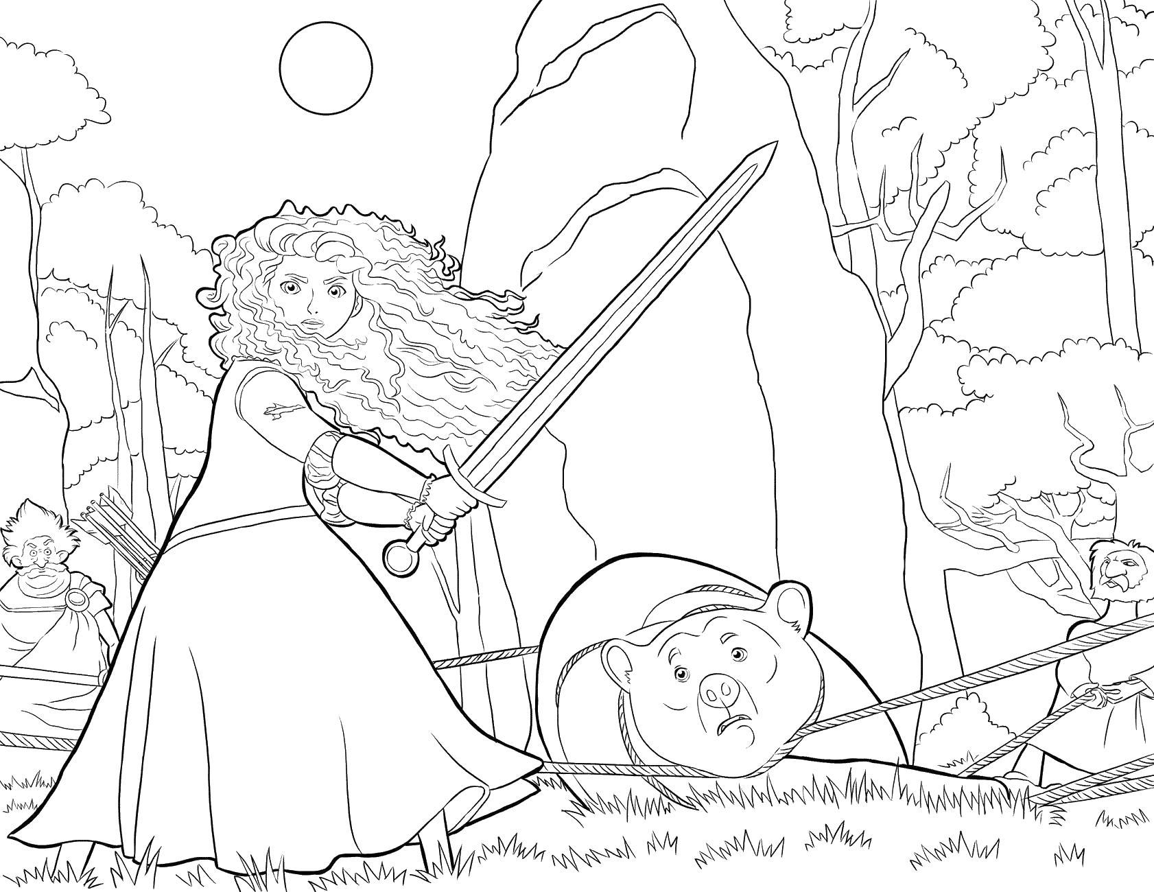 Мерида сражается за маму Раскраски для девочек скачать