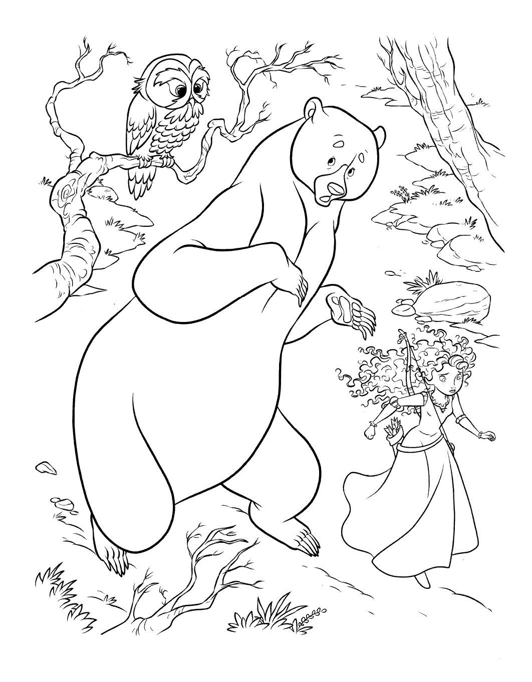 Принцесса с мамой ищут укрытие Раскраски с цветами распечатать бесплатно