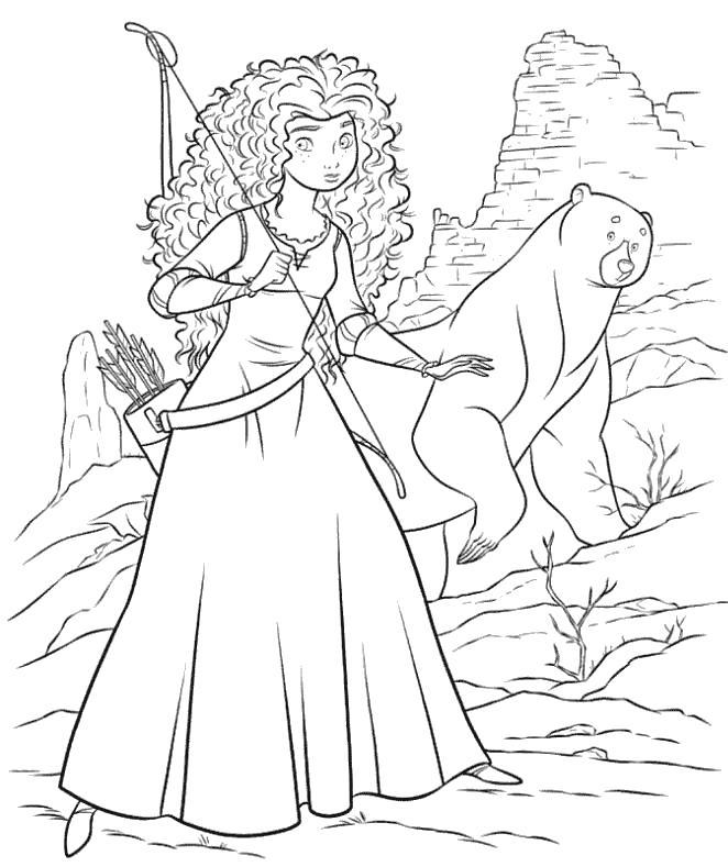 Принцесса с медведем Раскраски для девочек скачать