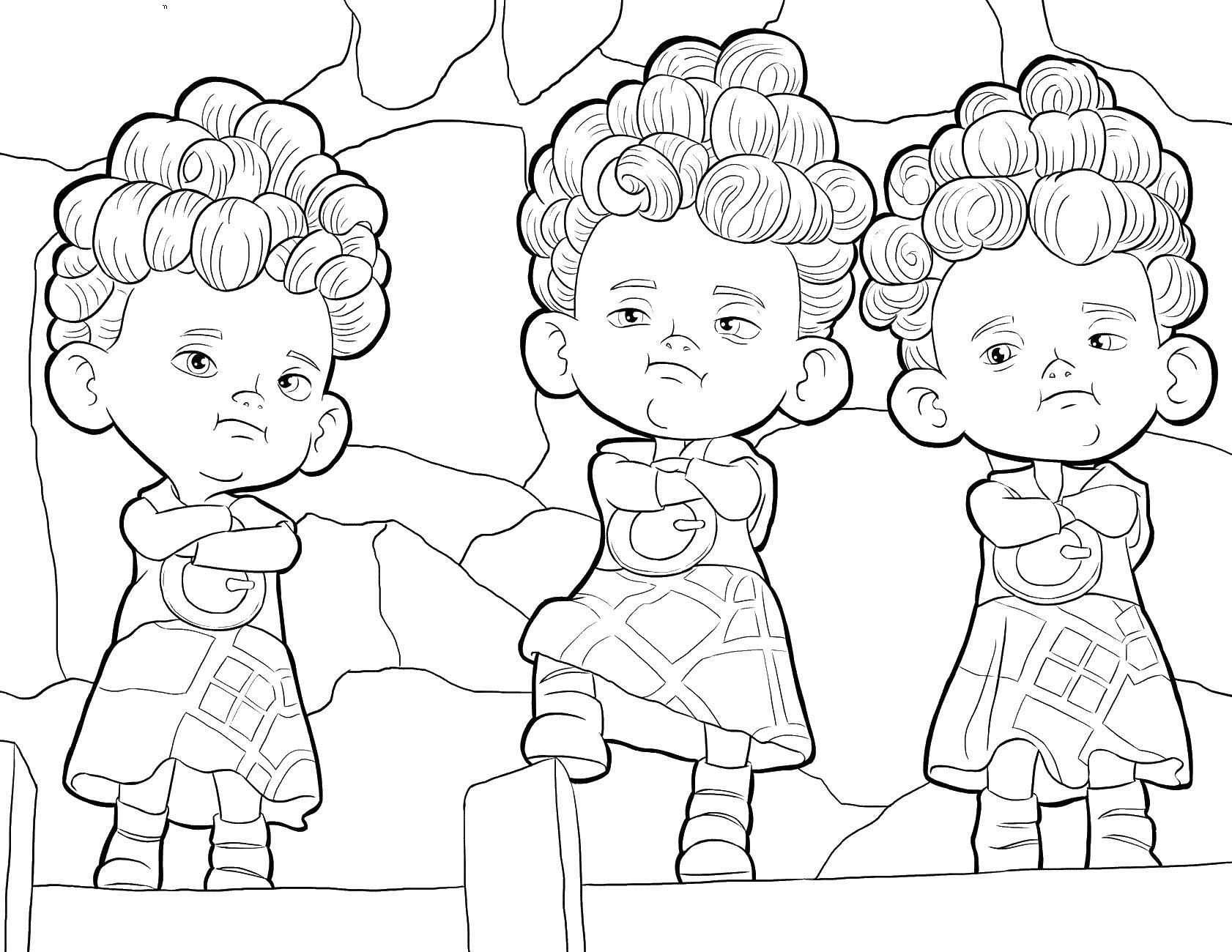 Тройня близнецов Раскраски для девочек скачать