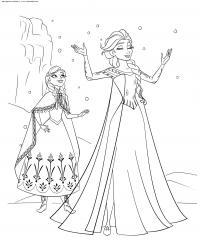Принцессы сестры Раскраски с цветами распечатать бесплатно