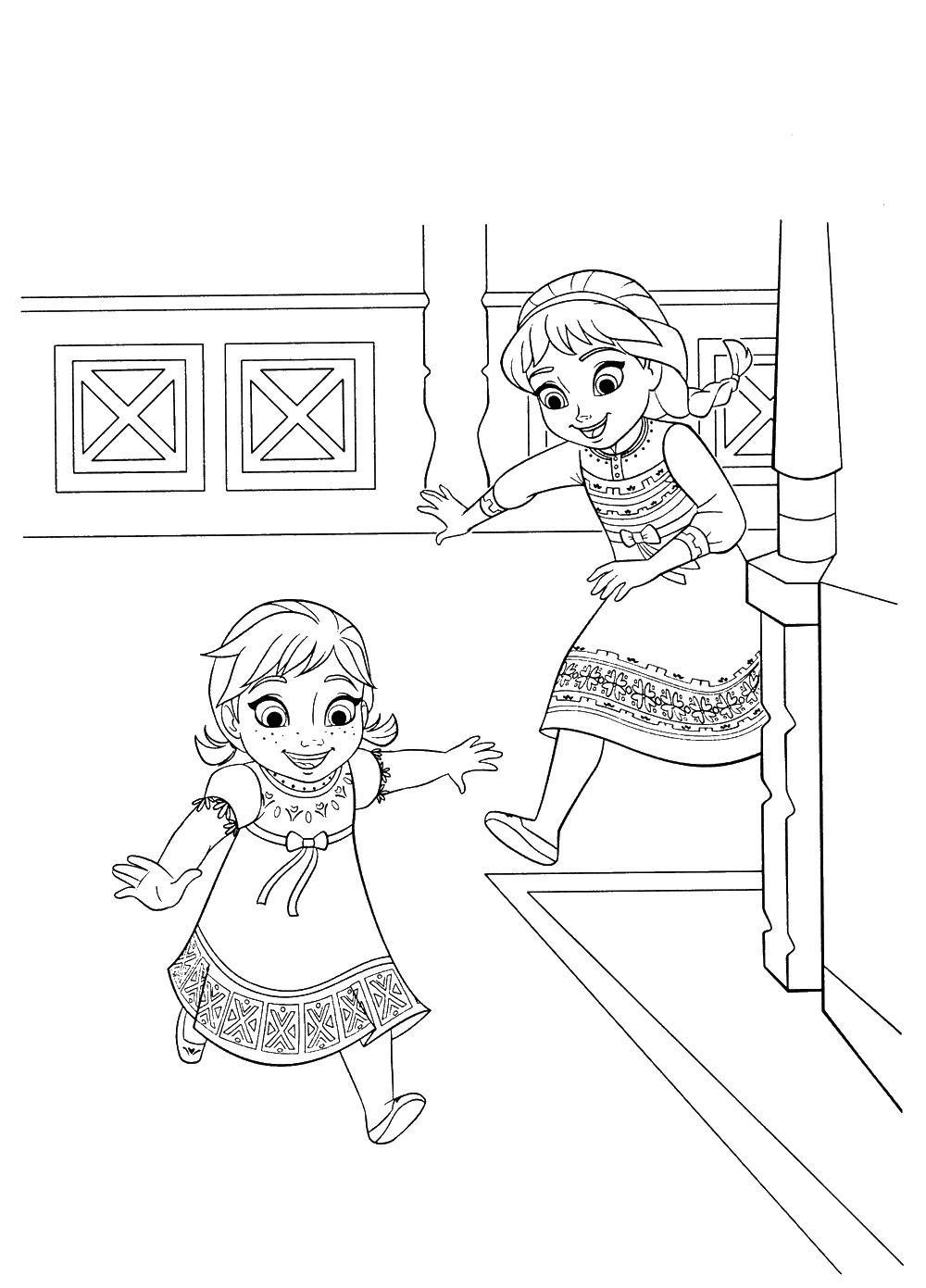 Ельза и анна играют Раскраски для девочек бесплатно