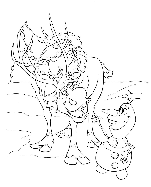Олень и снеговик Раскраски для девочек бесплатно