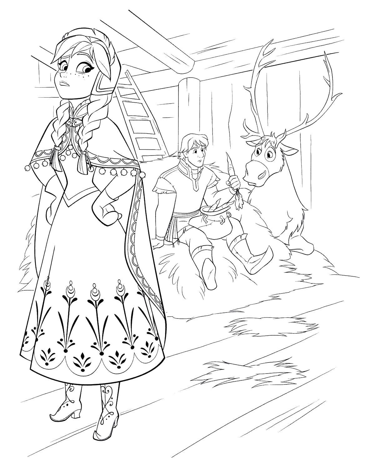 Анна, кристоф, свен Раскраски для девочек бесплатно
