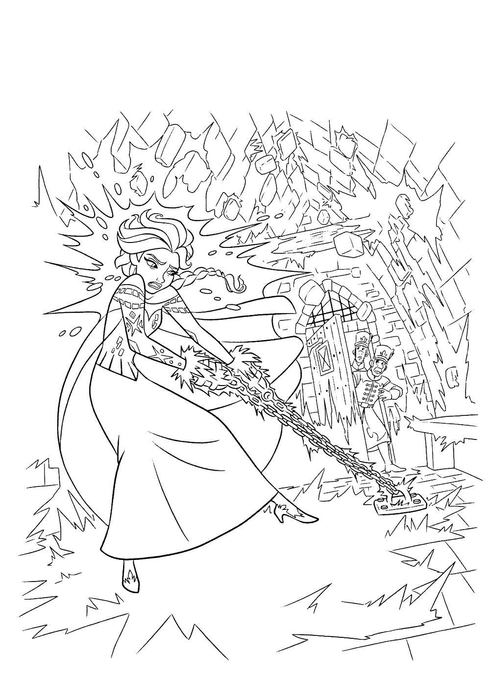 Ельзу привезали в цеп Раскраски для девочек бесплатно