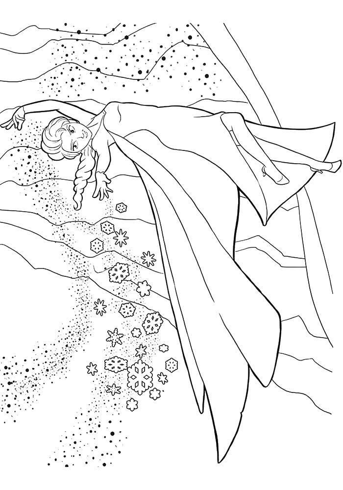 Ельза с снегом Раскраски с цветами распечатать бесплатно
