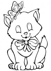 Кошка с бабочкой Раскраски для девочек бесплатно