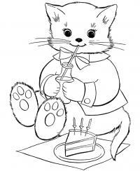 Котенок в день его рождения Раскраски для девочек бесплатно