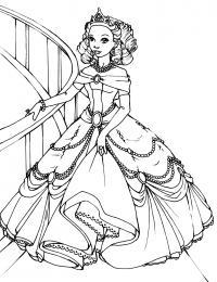 Принцесса с бала Раскраски с цветами распечатать бесплатно