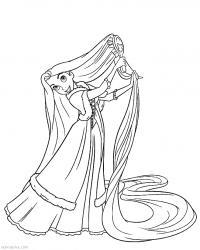 Рапунцель распутывает волосы Раскраски с цветами распечатать бесплатно