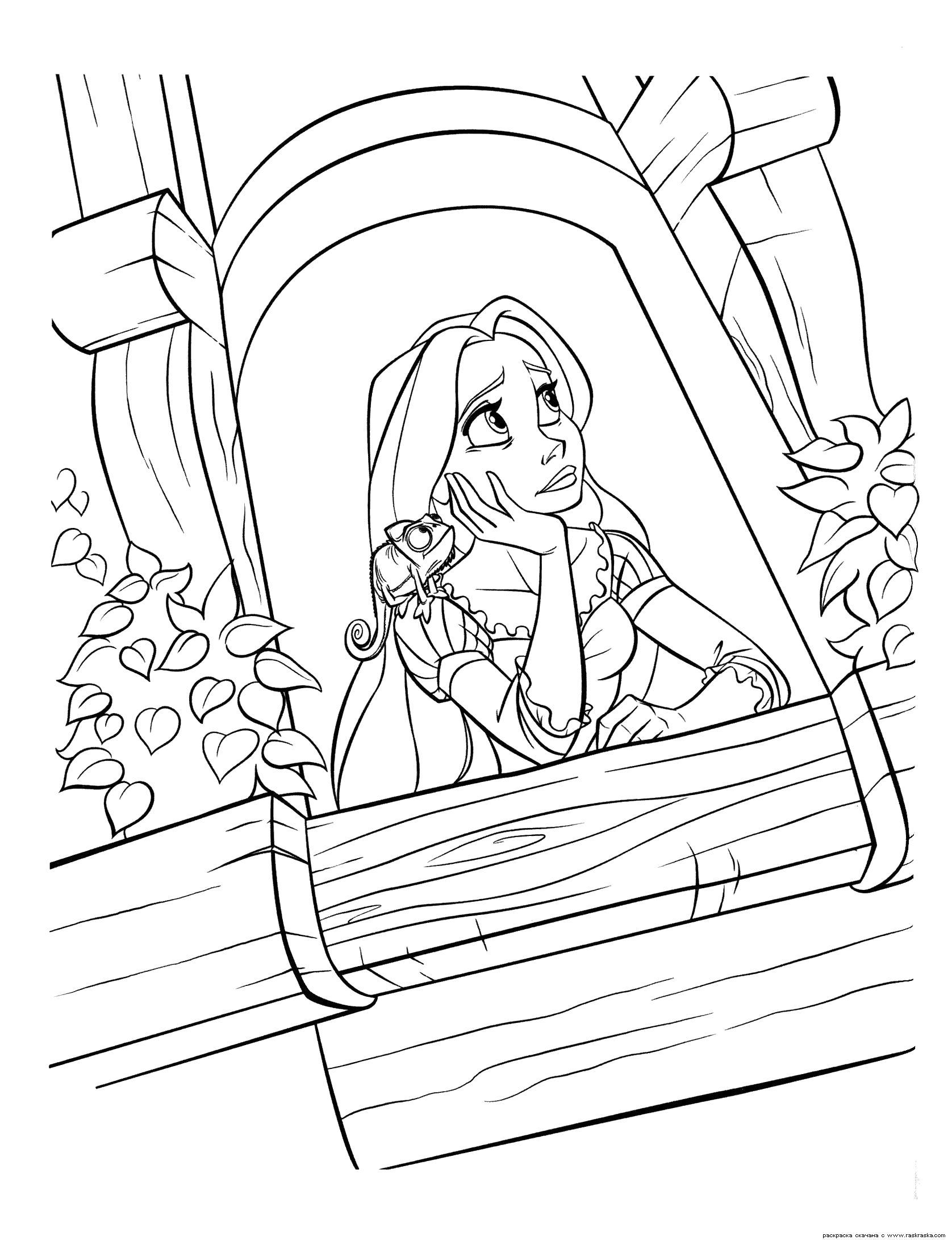 Рапунцель у балкона замка Раскраски с цветами распечатать бесплатно