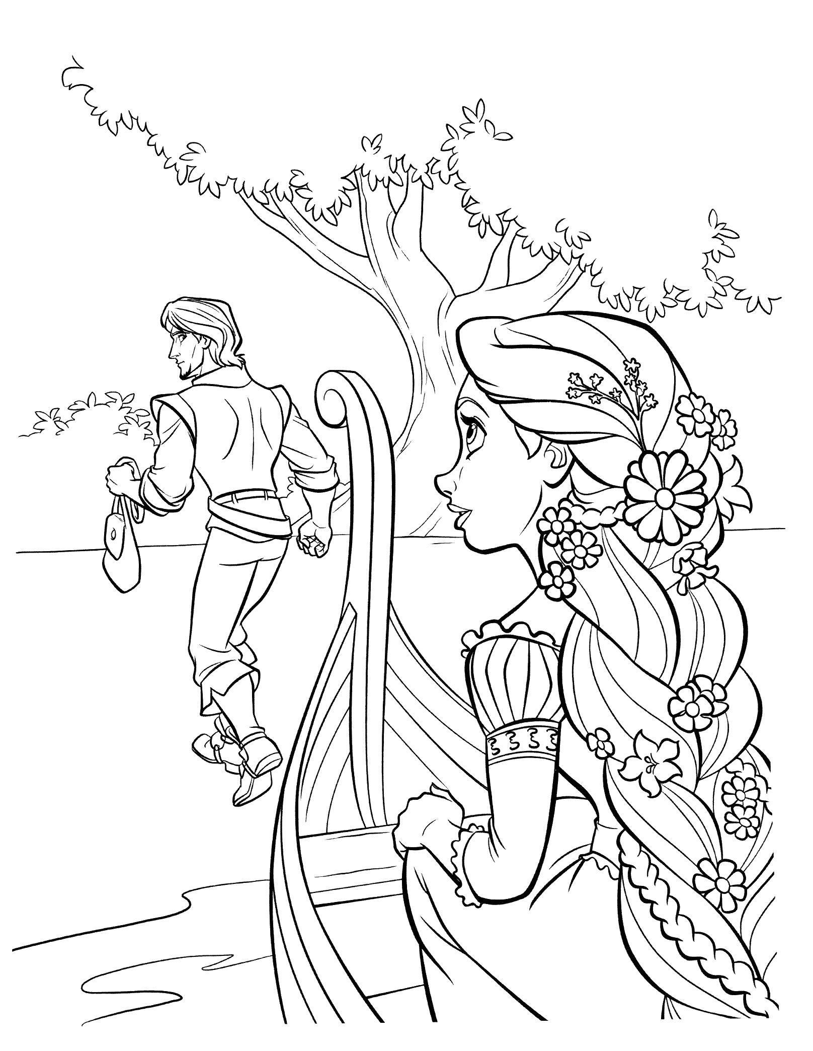 Парень убегает Раскраски с цветами распечатать бесплатно