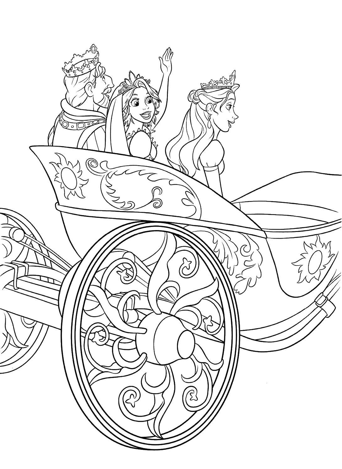 Карета с королем вместе Раскраски с цветами распечатать бесплатно