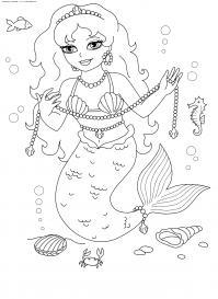 Русалка в море Раскраски для девочек онлайн
