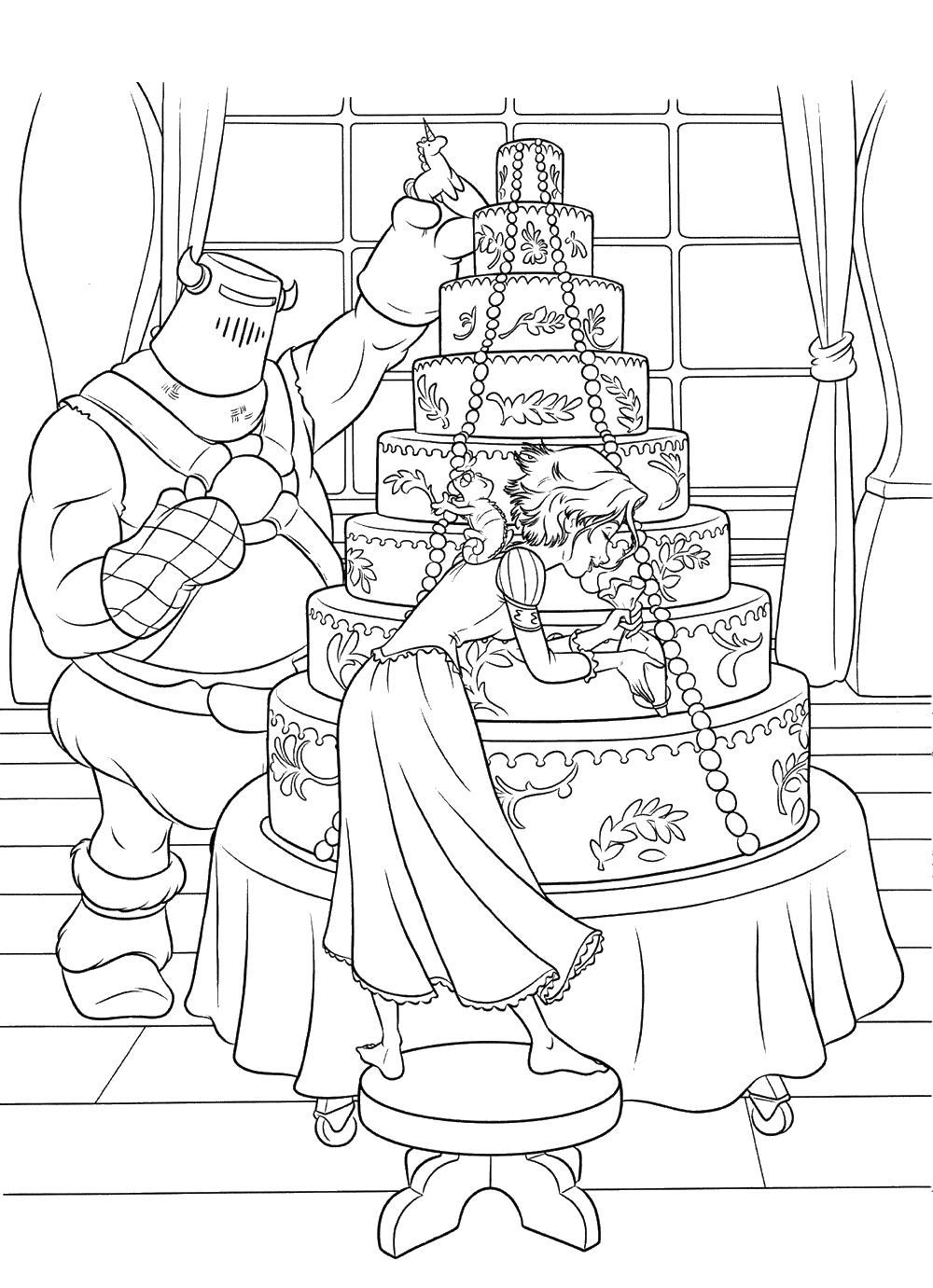 Большой торт Раскраски с цветами распечатать бесплатно