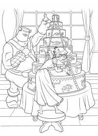 Большой торт Раскраски для девочек онлайн