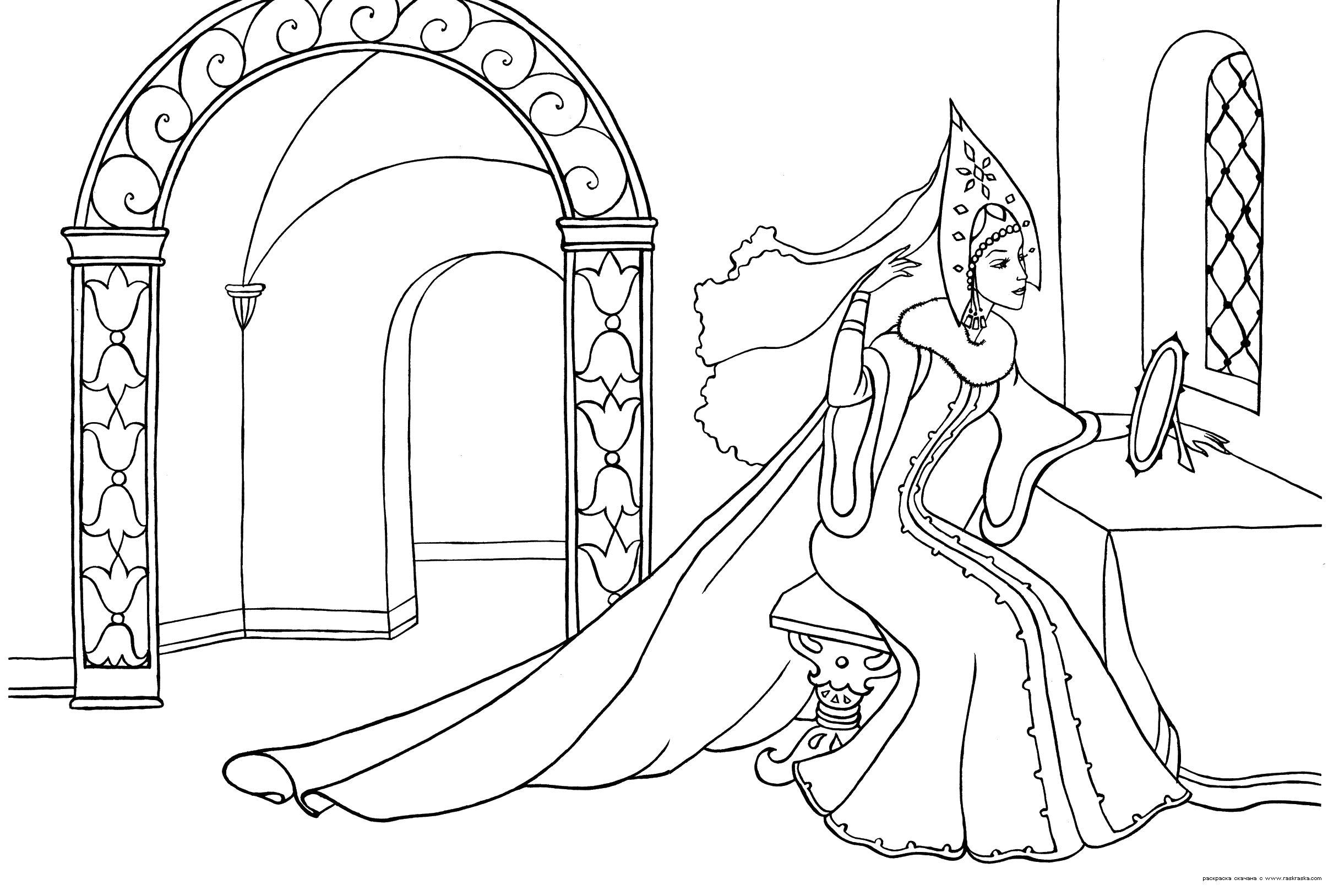 Королева сказки Раскраски с цветами распечатать бесплатно
