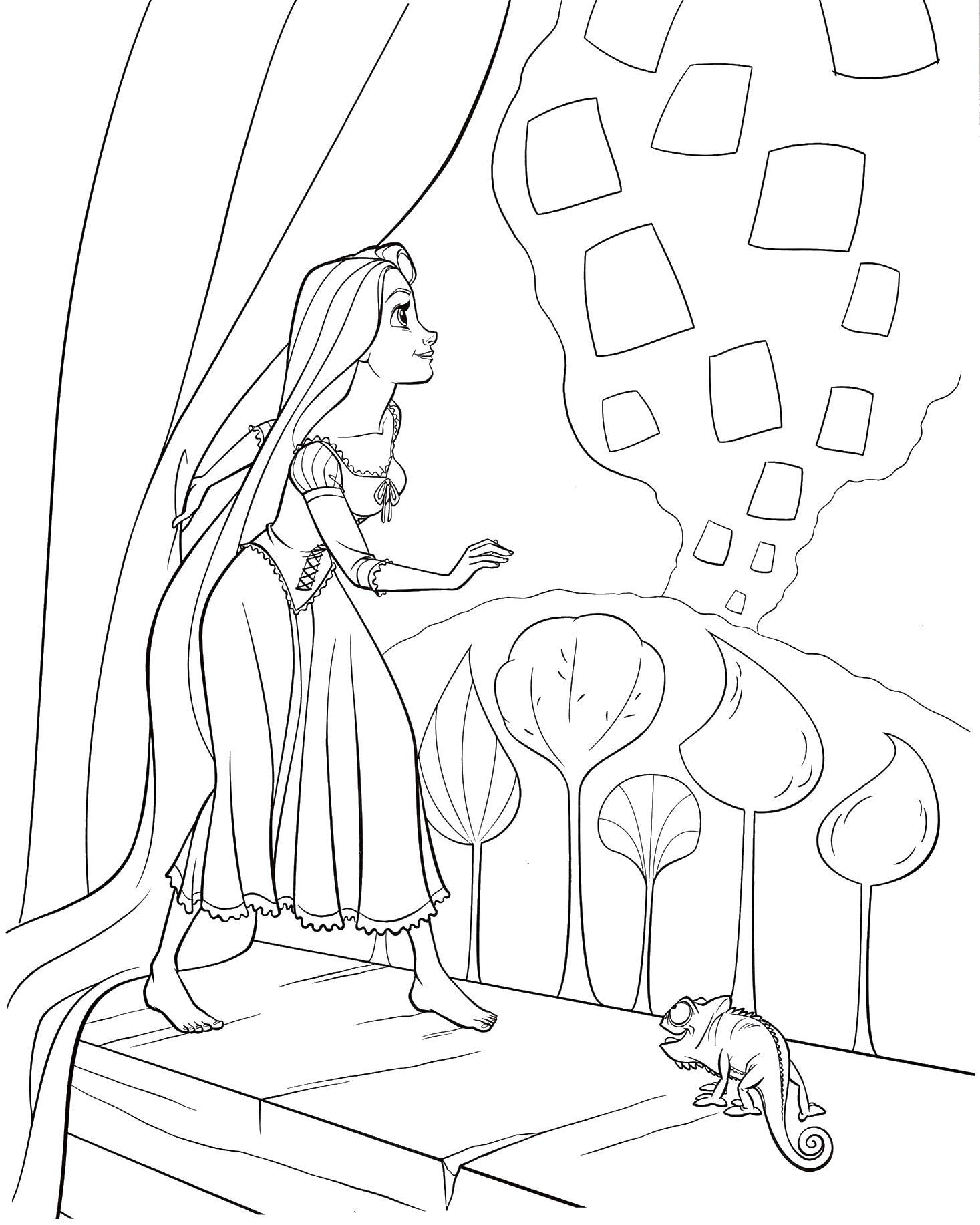 Рапунцель смотрит с окна Раскраски с цветами распечатать бесплатно