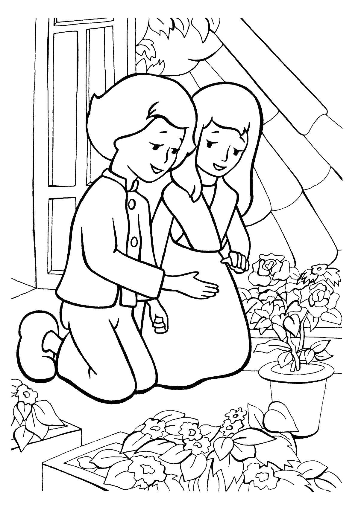 Герда и кай посадили цветы Раскраски для девочек онлайн