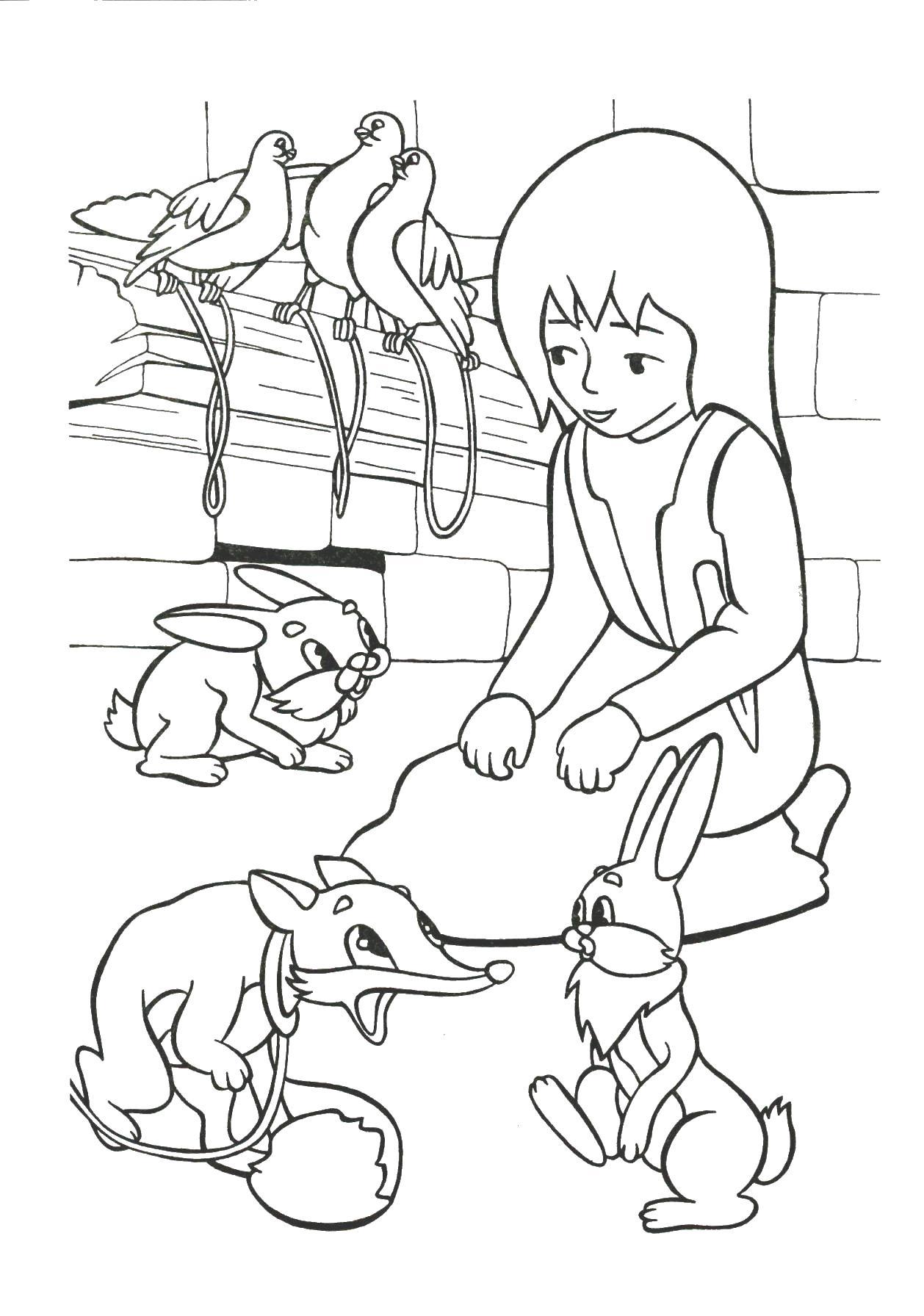 Герда присматривает за животными Раскраски для девочек онлайн